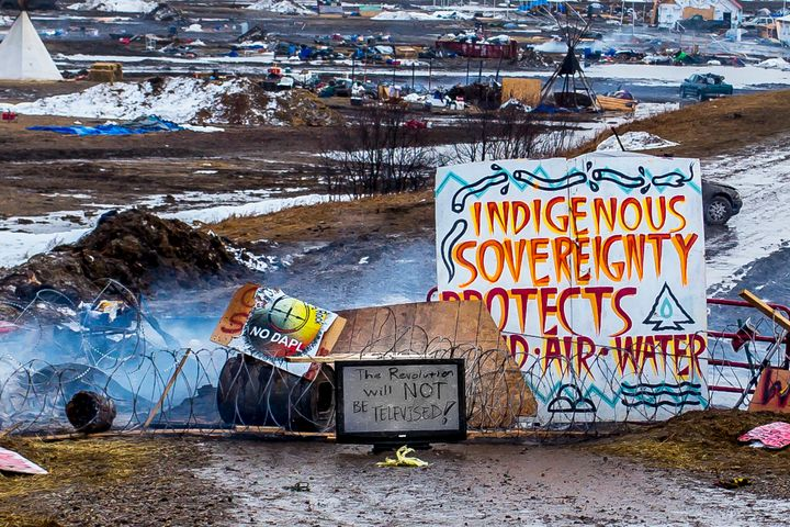 The entrance of Oceti Sakowin after the deadline to evacuate passed.