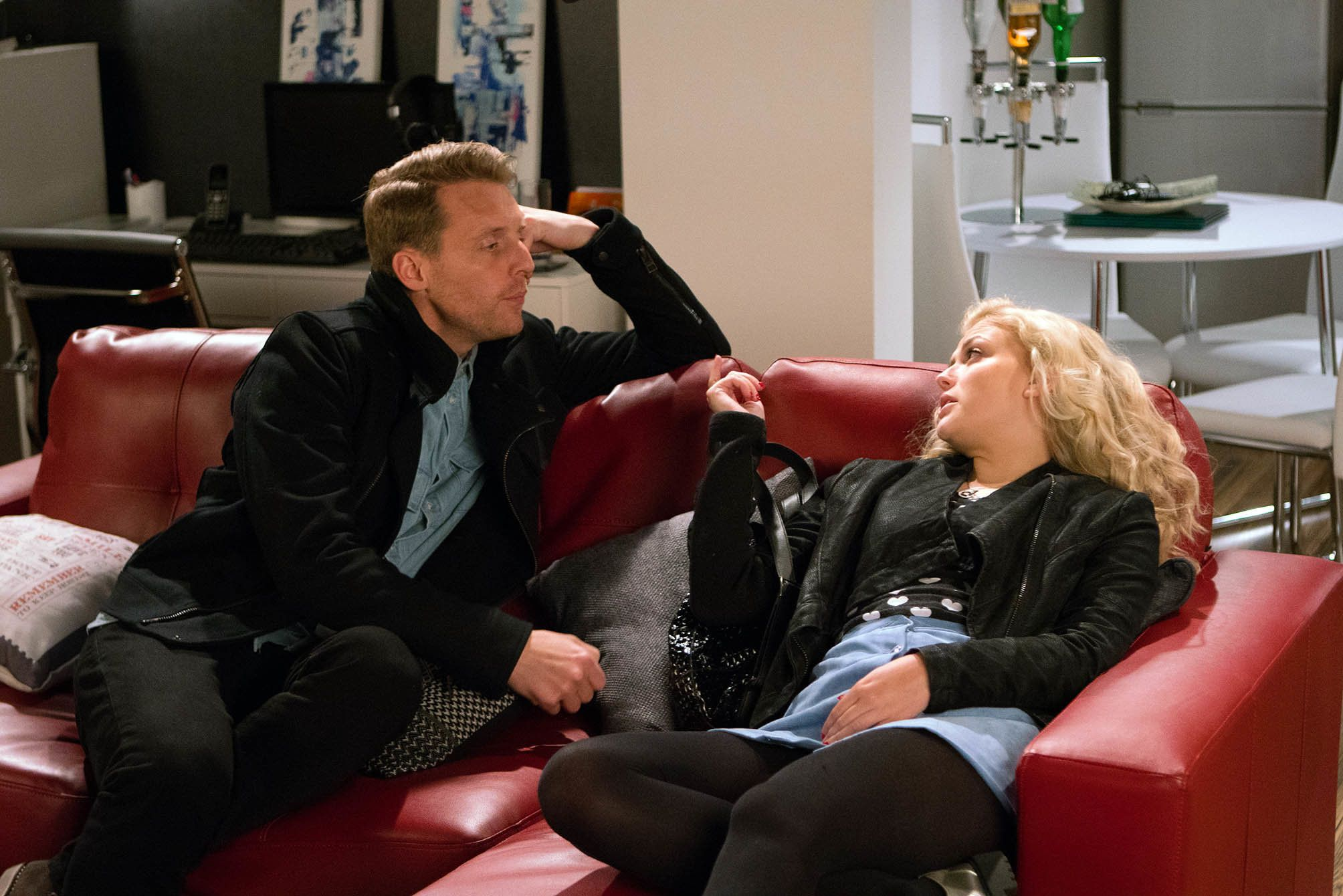 Nathan Curtis, played by Christopher Harper, and Bethany Platt, played by Lucy Fallon, in Coronation