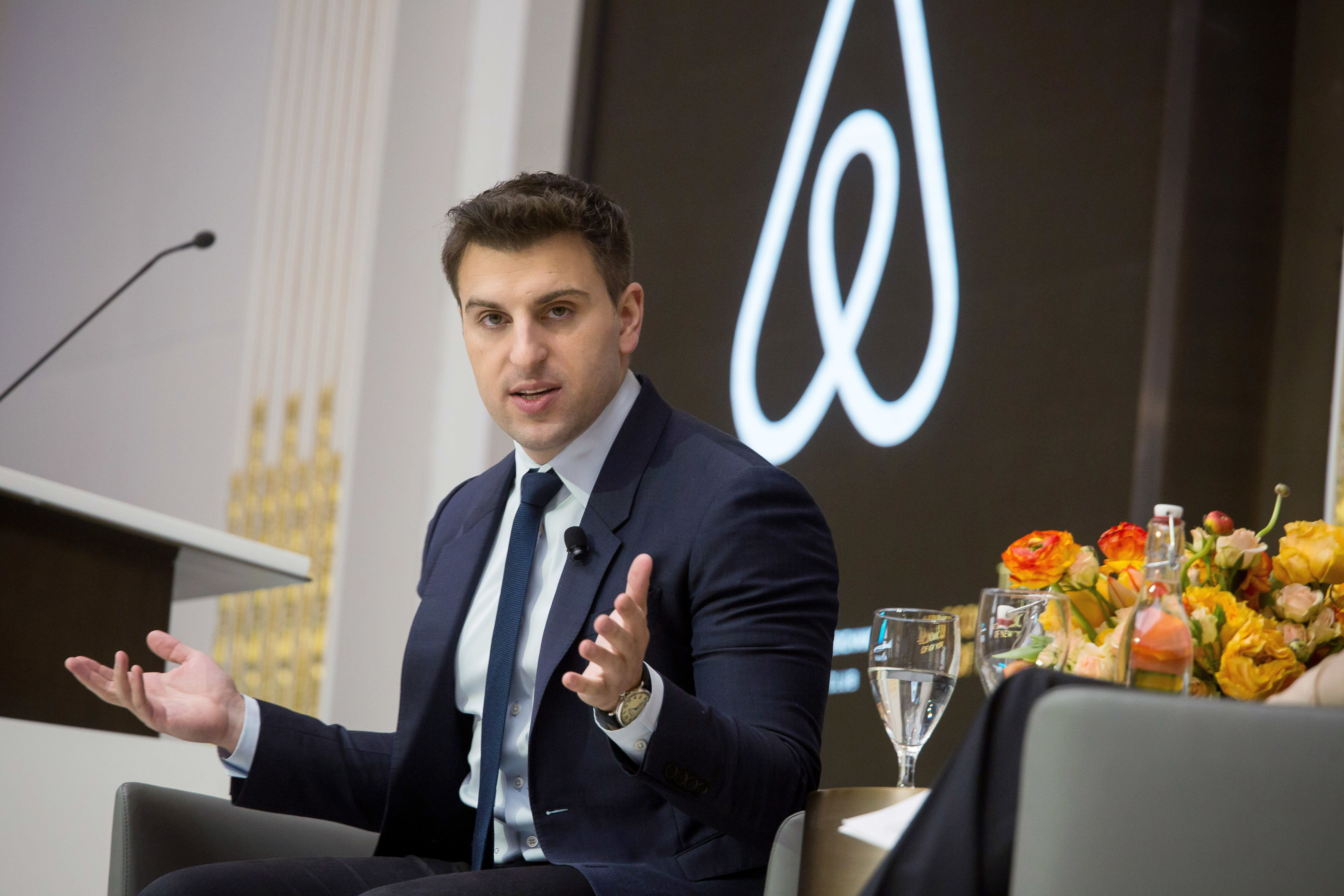 Brian Chesky, chief executive officer and co-founder of Airbnb Inc., speaks during an Economic Club of New York luncheon at the New York Stock Exchange (NYSE) in New York, U.S., on Monday, March 13, 2017. Airbnb is about halfway through a 2-year process of preparing to be ready to go public, Chesky said. Photographer: Michael Nagle/Bloomberg via Getty Images