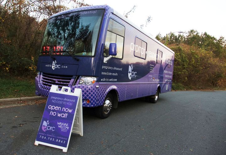 PRC Charlotte parks its two mobile CPCs up the street from A Preferred Women's Health Center, a Charlotte-based abortion clin