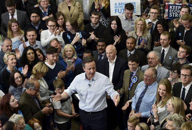 David Cameron at a rally during the