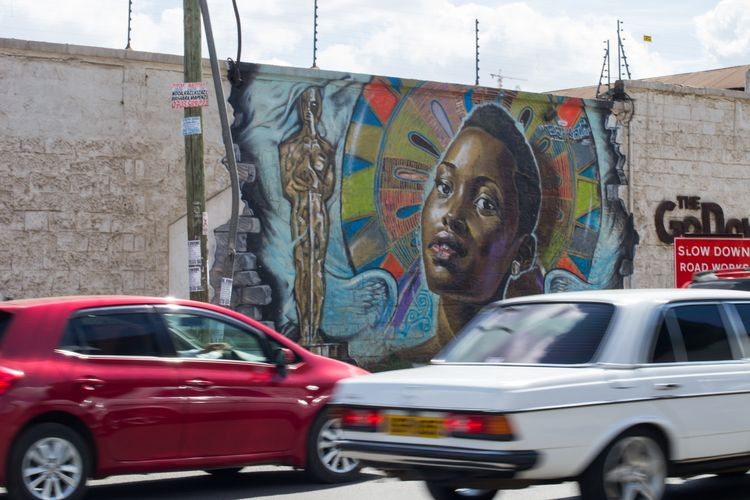 Mural of Oscar winning Kenyan actress Lupita Nyong'o on a wall in Kenya. More from the photographer at www.musilamunuve.squar
