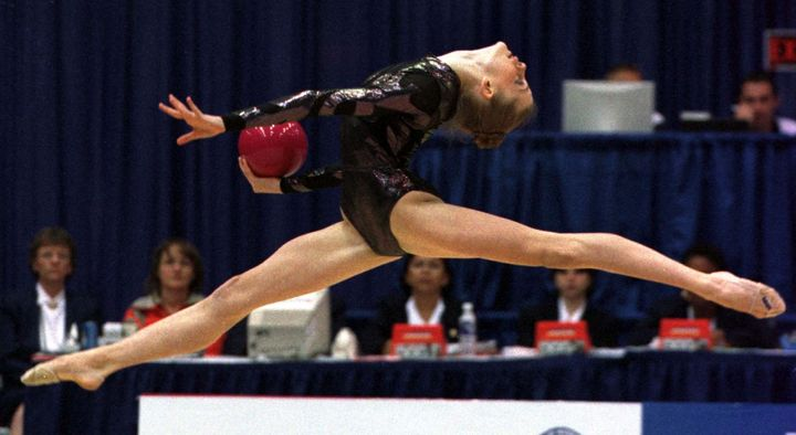Jessica Howard competes in the all-around rhythmic gymnastics competition at the 1999 Pan American Games in Ma