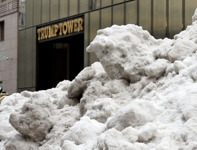 Snow outside Trump Tower, New York this