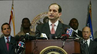 United States Attorney for the Southern District of Florida Alexander Acosta speaks with the media during a press conference regaurding the arrest of seven florida men who are being charged with conspiring to support Al Qaeda, and attack targets in the United States, on May 23, 2006. (Michael Francis McElroy/Sun Sentinel/TNS via Getty Images)