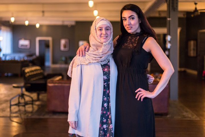 Safaa Bokhari (left) and Gisele Fetterman met at the Fetterman's home on Monday, March 6th, 2017 to discuss plans for their joint initiative, Hello Hijab.