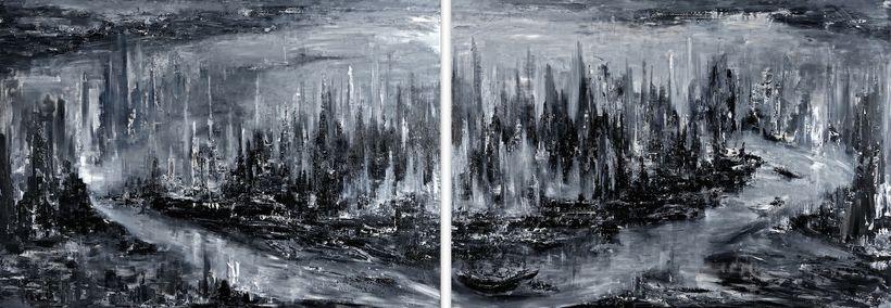 <em>The River of Life, </em>2 parts, each 300 x 200cm