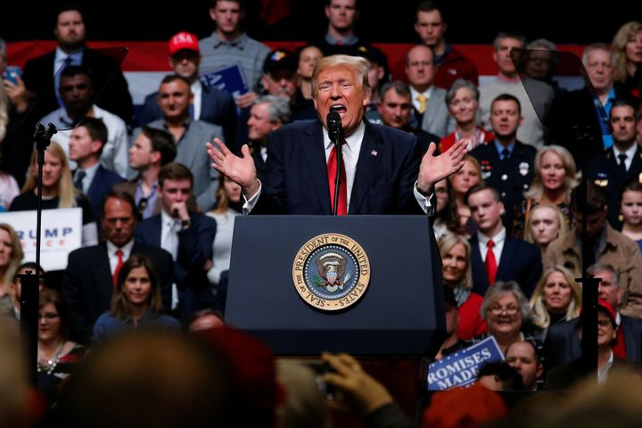 President Donald Trump, at a rally Wednesday in Nashville, says he'd prefer to go back to his original travel ban.