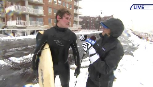 New York Surfer Stranded In Blizzard Asks News Crew For A