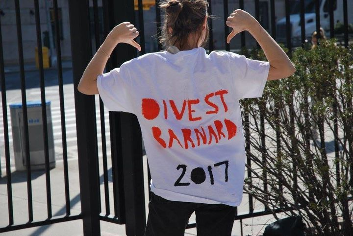 A student activist on Barnard's campus in Manhattan.