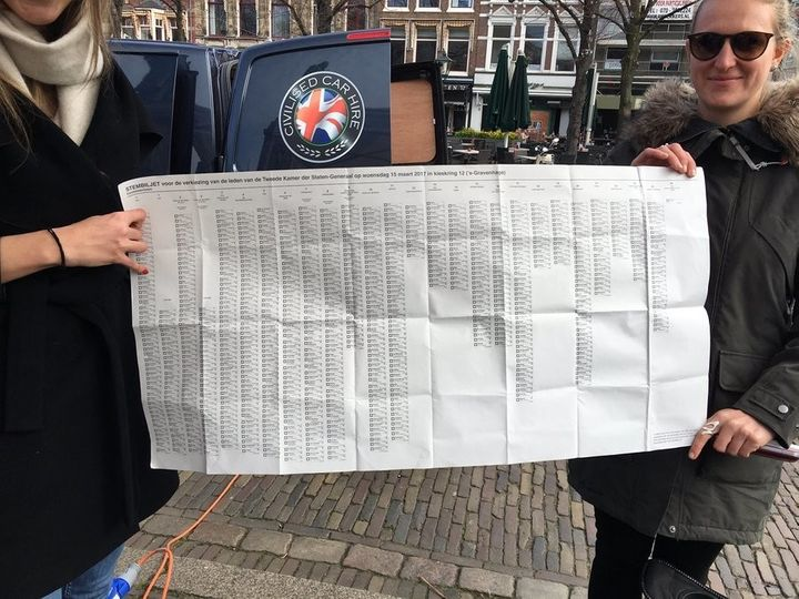 Dutch voters hold up an election ballot