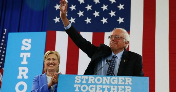 """Stronger Together!""  Senator Bernie Sanders and Hillary Clinton, the Democratic candidate for President of the United States"