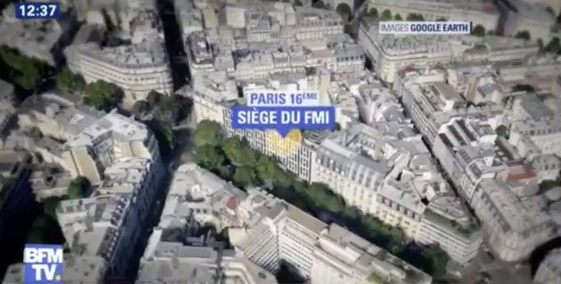 A graphic from French TV station BFM TV showing the IMF office location in Paris,