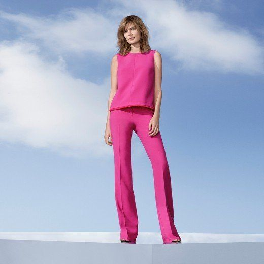 Fuchsia twill tank top, $26 and fuchsia twill flared trouser, $40