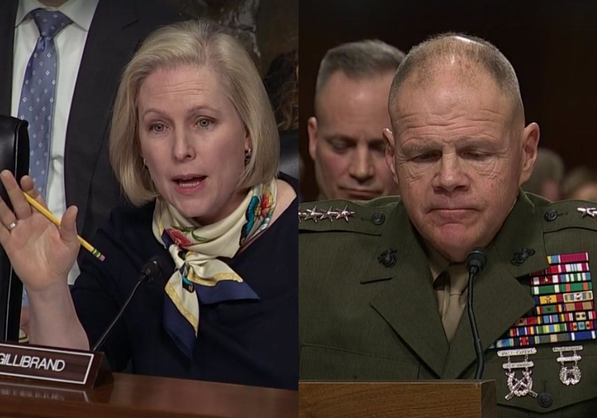 Marine Corps Commandant General Robert Neller (R) testified before the Senate Armed Services Committee on March 14.