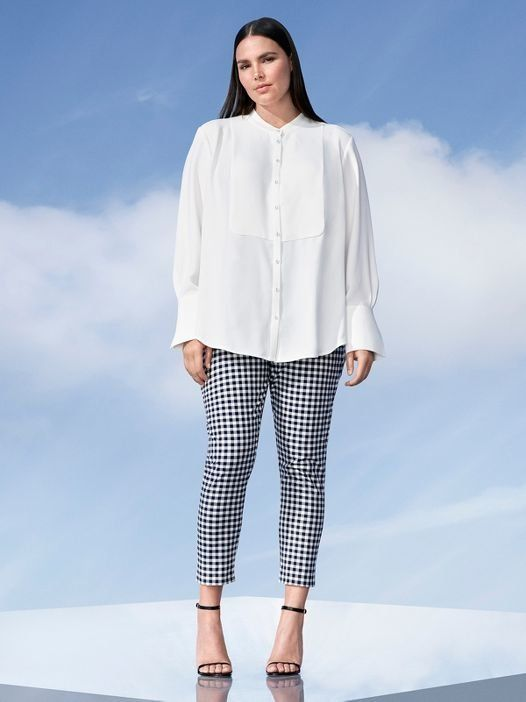 White button-down top, $30, and blue and white gingham twill pants, $40