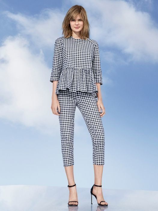 Blue and white gingham twill peplum blouse, $30, and blue and white gingham twill pants, $40