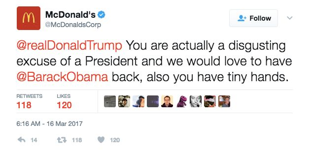McDonald's Twitter Calls Donald Trump Tiny-Handed, 'Disgusting Excuse Of A