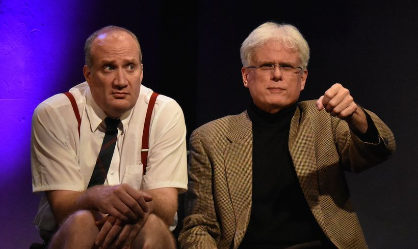 (l. – r.) Brendan Averett (as Andre the Giant) and Dave Sikula (as Samuel Beckett) in 'Sam & Dede, or My Dinner With Andre