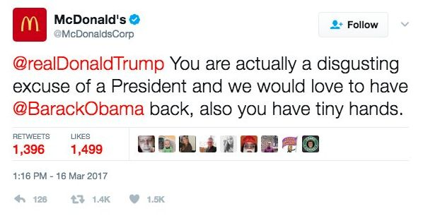 A screenshot of the tweet posted to the McDonald's corporate