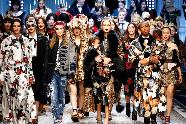 A diverse line-up of models walked for theDolce & Gabbana show during Milan Fashion Week on...