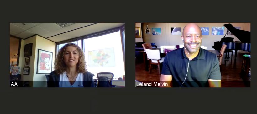 """Former NASA Astronaut Leland Melvin and space explorer Anousheh Ansari #LiveTogether on Facebook as part of the <a rel=""""nofol"""