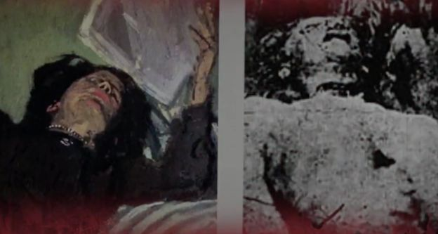 Cornwell draws similarities between the Ripper victim's neck wound (right) and the necklace worn...