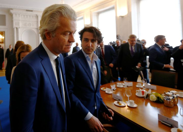 Dutch far-right politician Geert Wilders of the PVV, left, and Jesse Klaver of the Green-Left Party, right.