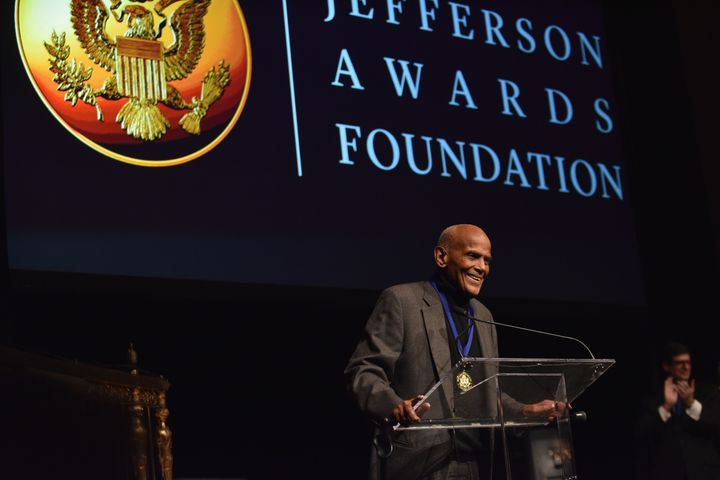 Harry Belafonte receives the Lifetime Achievement Award onstage during the Jefferson Awards Foundation ceremony on Wednesday.