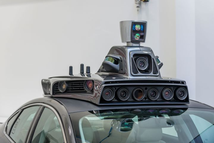 The cameras on a pilot model of an Uber self-driving car are displayed at the Uber Advanced Technologies Center on Sept. 13,