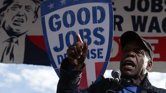 WASHINGTON, DC - DECEMBER 07:  Actor Danny Glover speaks during a rally on jobs December 7, 2016 at Freedom Plaza in Washington, DC. Our Revolution and Good Jobs Nation, the organizer, held a rally lead by Sen. Bernie Sanders (I-VT), to demand good jobs and workers' rights from the incoming President-elect Donald Trump administration.  (Photo by Alex Wong/Getty Images)