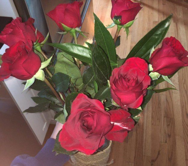 The roses Moroney bought for his date.