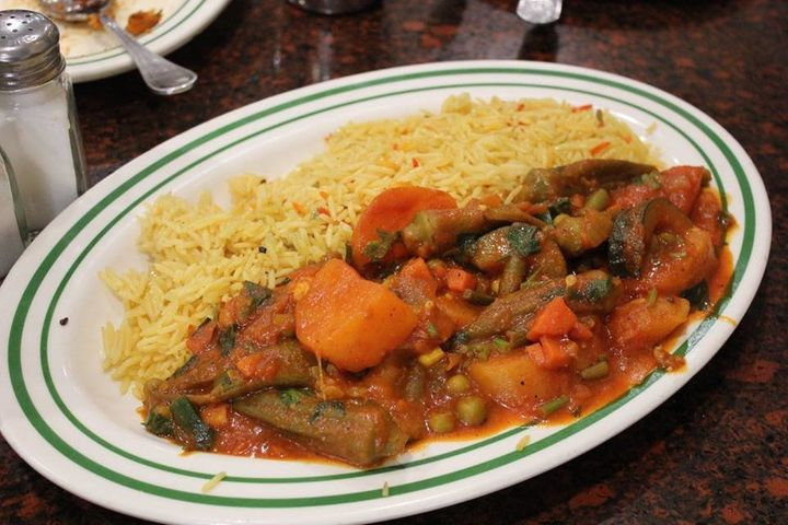 A plate served at the Yemeni cafe in Bay Ridge, Brooklyn, NY.