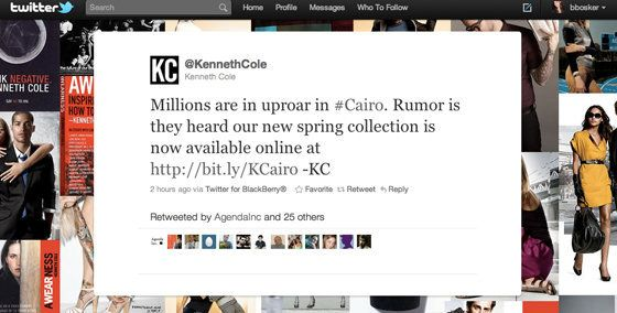 "Millions are in uproar since <a href=""http://twitter.com/#!/kennethcole"" target=""_hplink"">Kenneth Cole invoked </a>the Egypt"