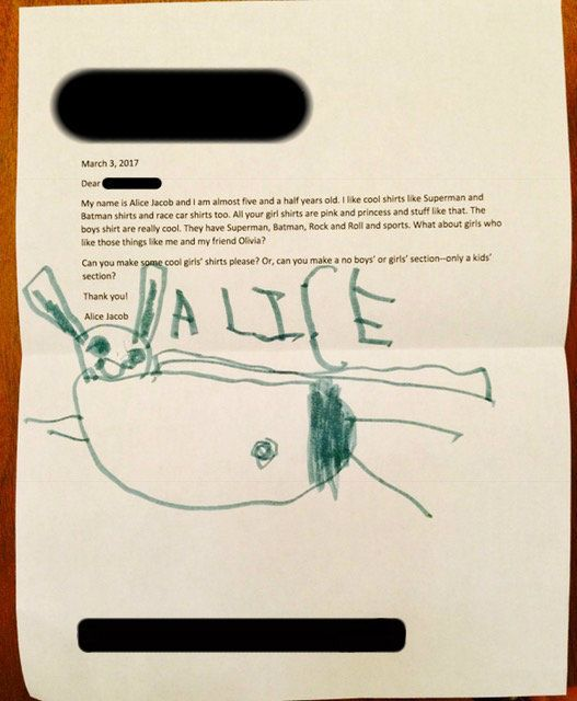 """Five-year-old Alice Jacob wrote a letter to the Gap asking for """"cool girls' shirts."""""""