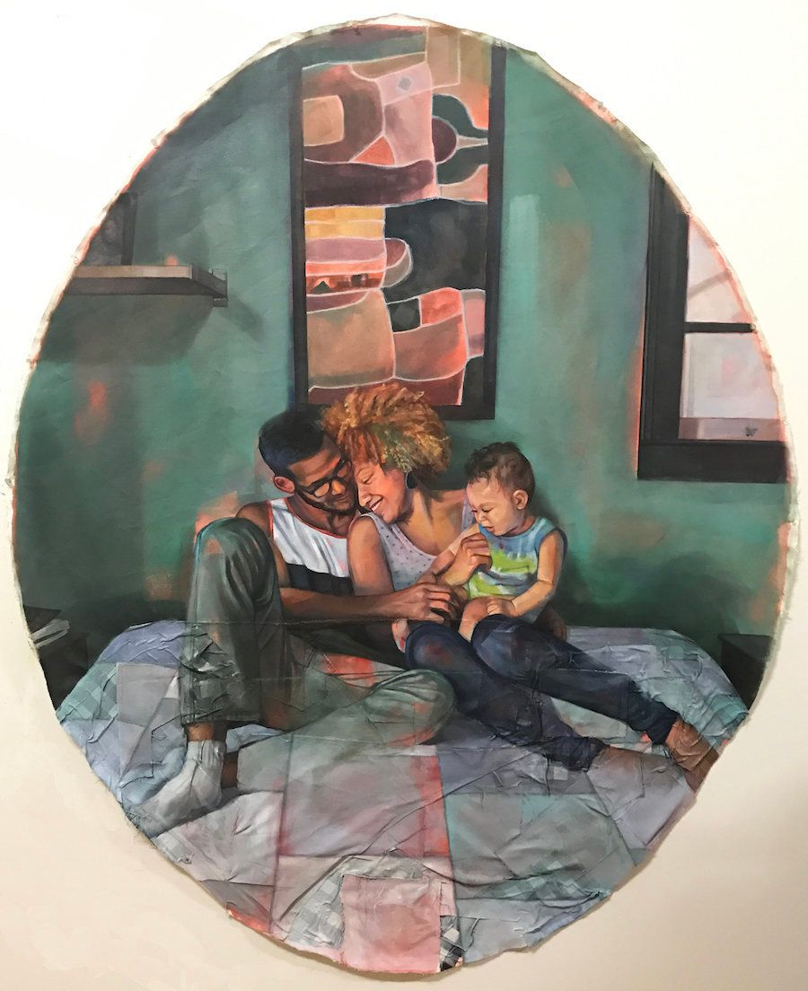 """Alissa, Jared, and Khalil,"" Oil, pastel, acrylic, and collaged sewn fabric on canvas, 72"" x 60"" oval, 2017."