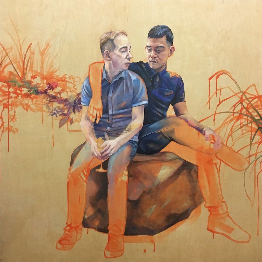 """Derek and James,"" Oil, pastel, and acrylic on panel, 48"" x 48"", 2017."
