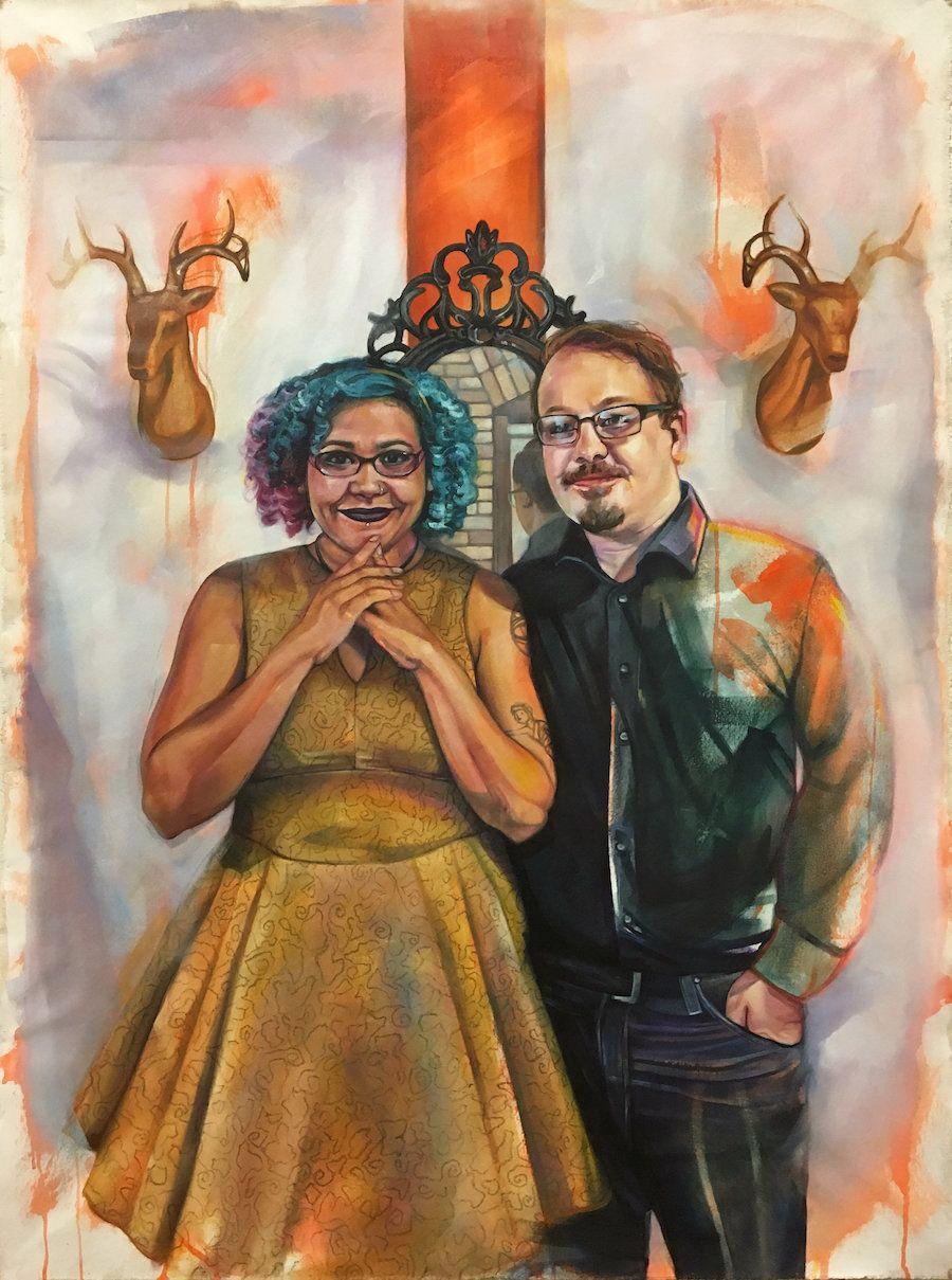 """Samantha and Ryan,""Oil, pastel, acrylic on canvas, 54"" x 40"", 2017."