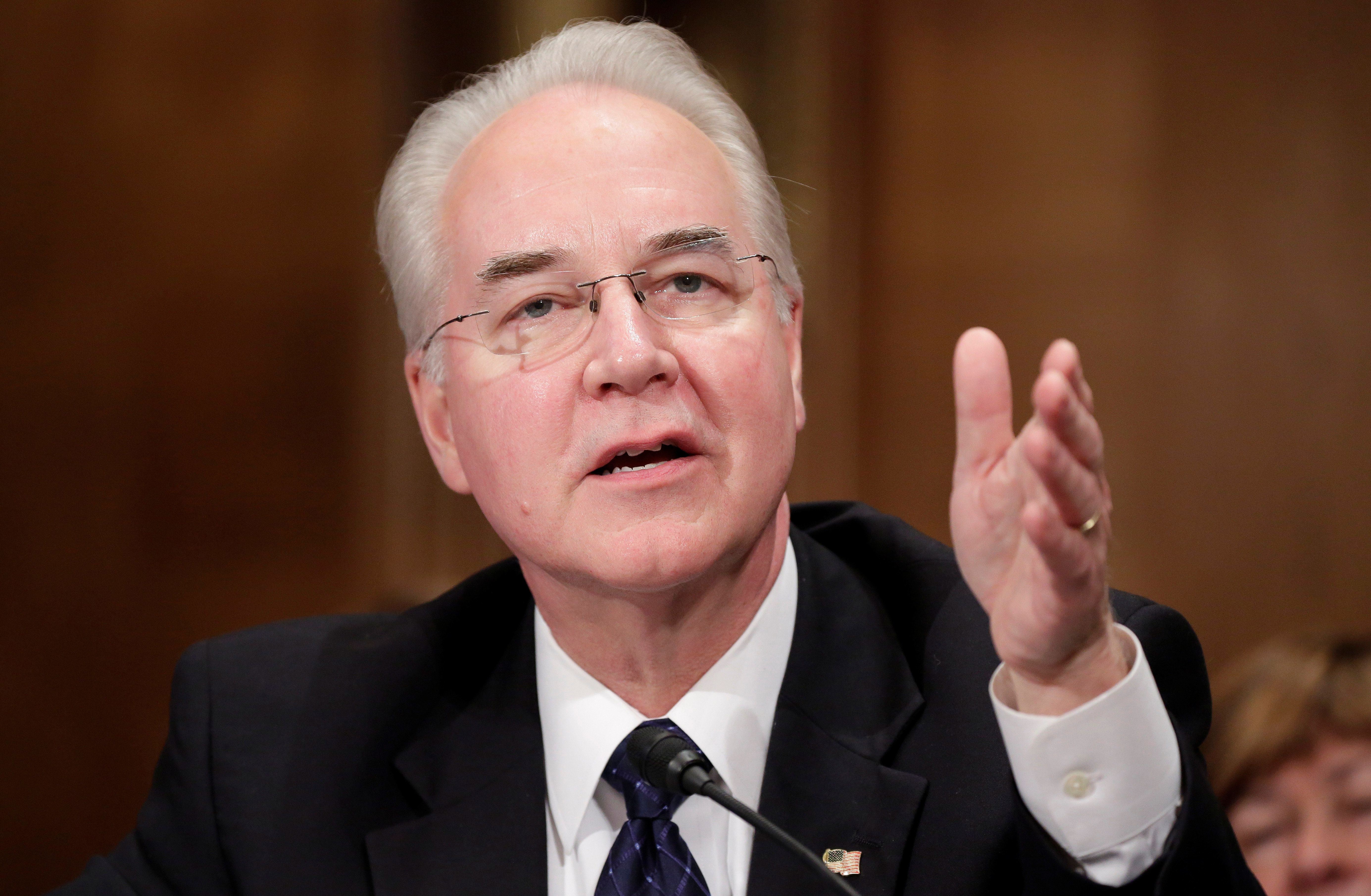 Rep. Tom Price (R-GA) testifies before the Senate Health, Education, Labor and Pensions Committee on his nomination to be Health and Human Services secretary in Washington, U.S., January 18, 2017.      REUTERS/Joshua Roberts