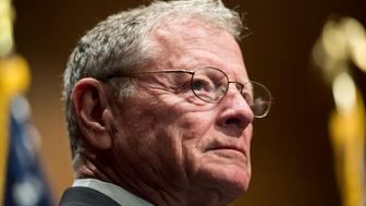 UNITED STATES - JUNE 23: Sen. Jim Inhofe, R-Okla., holds a press conference on Tuesday, June 23, 2015 to introduce a six-year highway reauthorization bill titled the Developing a Reliable and Innovative Vision for the Economy Act (DRIVE Act). (Photo By Bill Clark/CQ Roll Call)