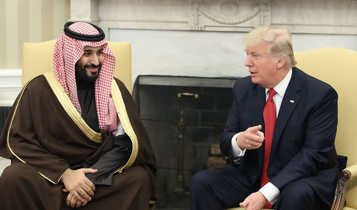 U.S. President Donald Trump meets with Mohammed bin Salman, Deputy Crown Prince and Minister of Defense of the Kingdom of Saudi Arabia, in the Oval Office at the White House, March 14, 2017.
