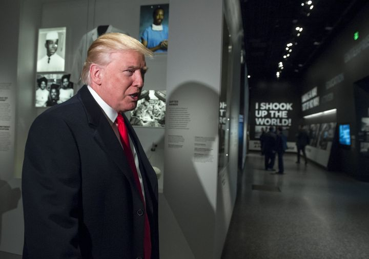Donald Trump visiting the Smithsonian National Museum of African American History and Culture in Washington, D.C., last month