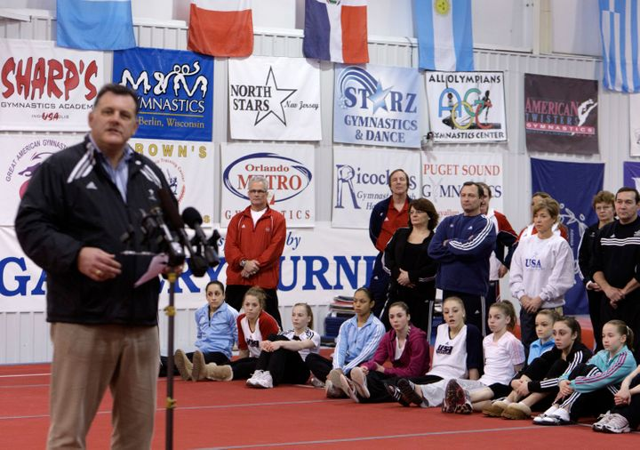 Steve Penny, then president of USA Gymnastics, announces the USOC designation of the USA Gymnastics National Training Center