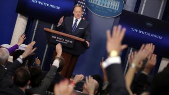 White House Communications Director Sean Spicer holds the daily press briefing at the White House in Washington, U.S., March 7, 2017.  REUTERS/Carlos Barria
