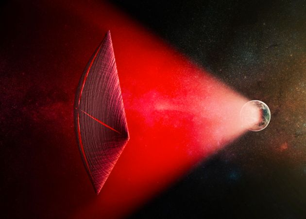 An artist's illustration of a light sail powered by a radio beam fromthe surface of a planet. The...