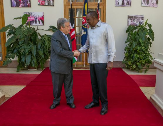 <em>President Kenyatta and UN Secretary-General Mr Guterres meet at the State House on 08 March 2017. </em>