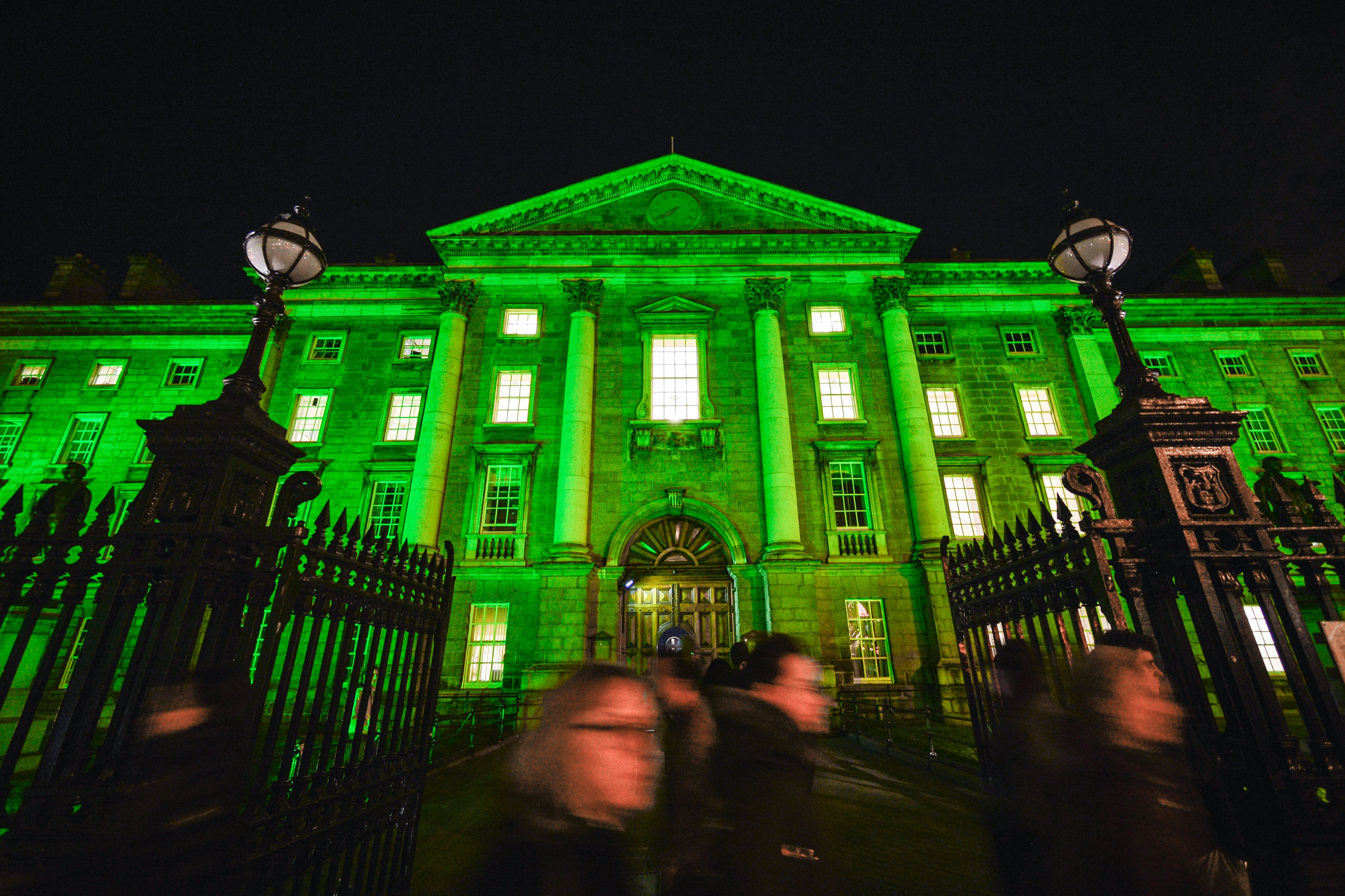 The Trinity College in Dublin goes green on the eve of St Patrick's