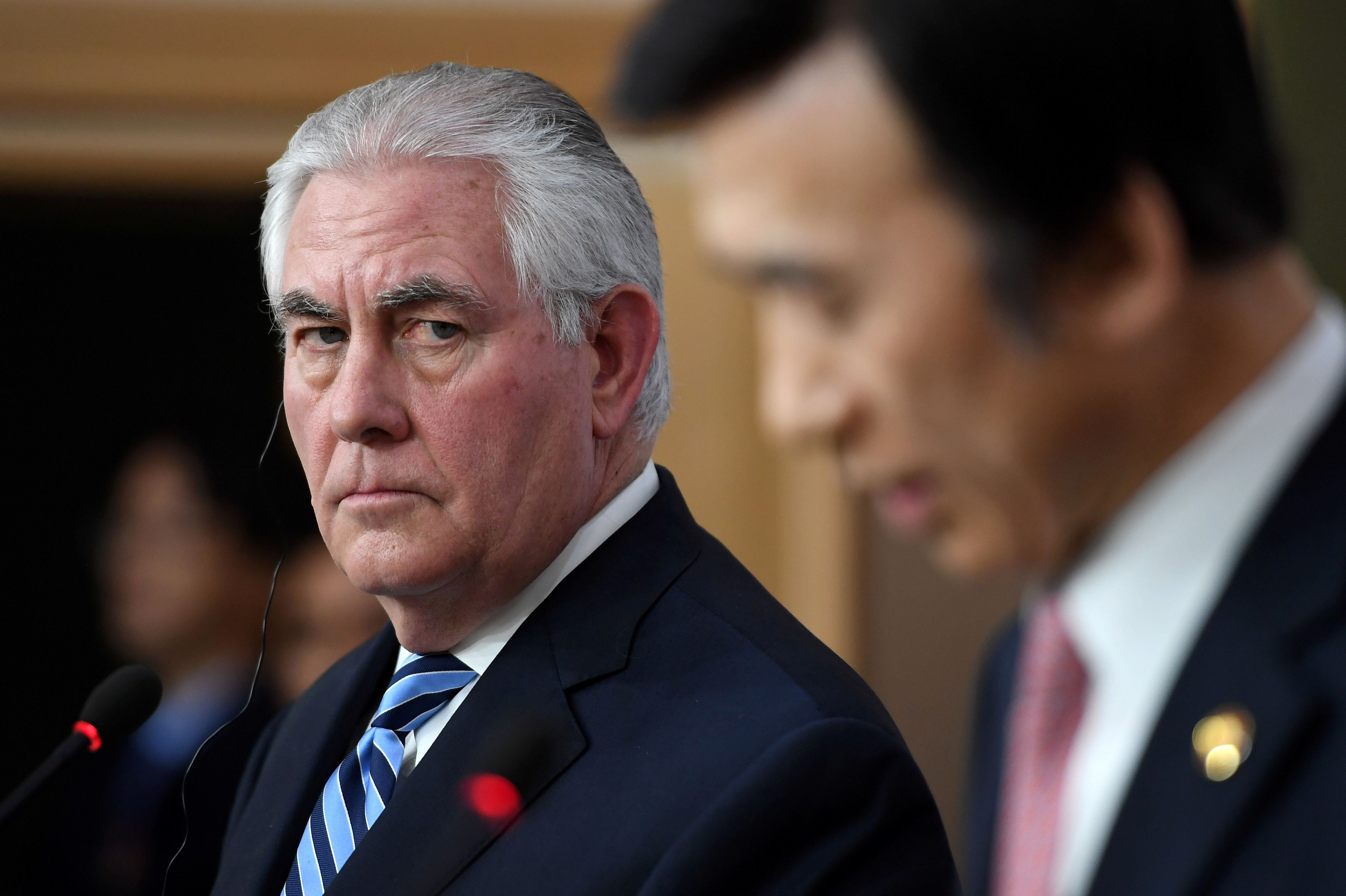 Secretary of State Rex Tillerson, left, said any aggressive actions from the North that threatened the South would be met wit