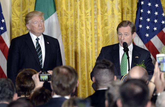 A watchful Donald Trump had to endure the five minute passionate address by Taoiseach Enda