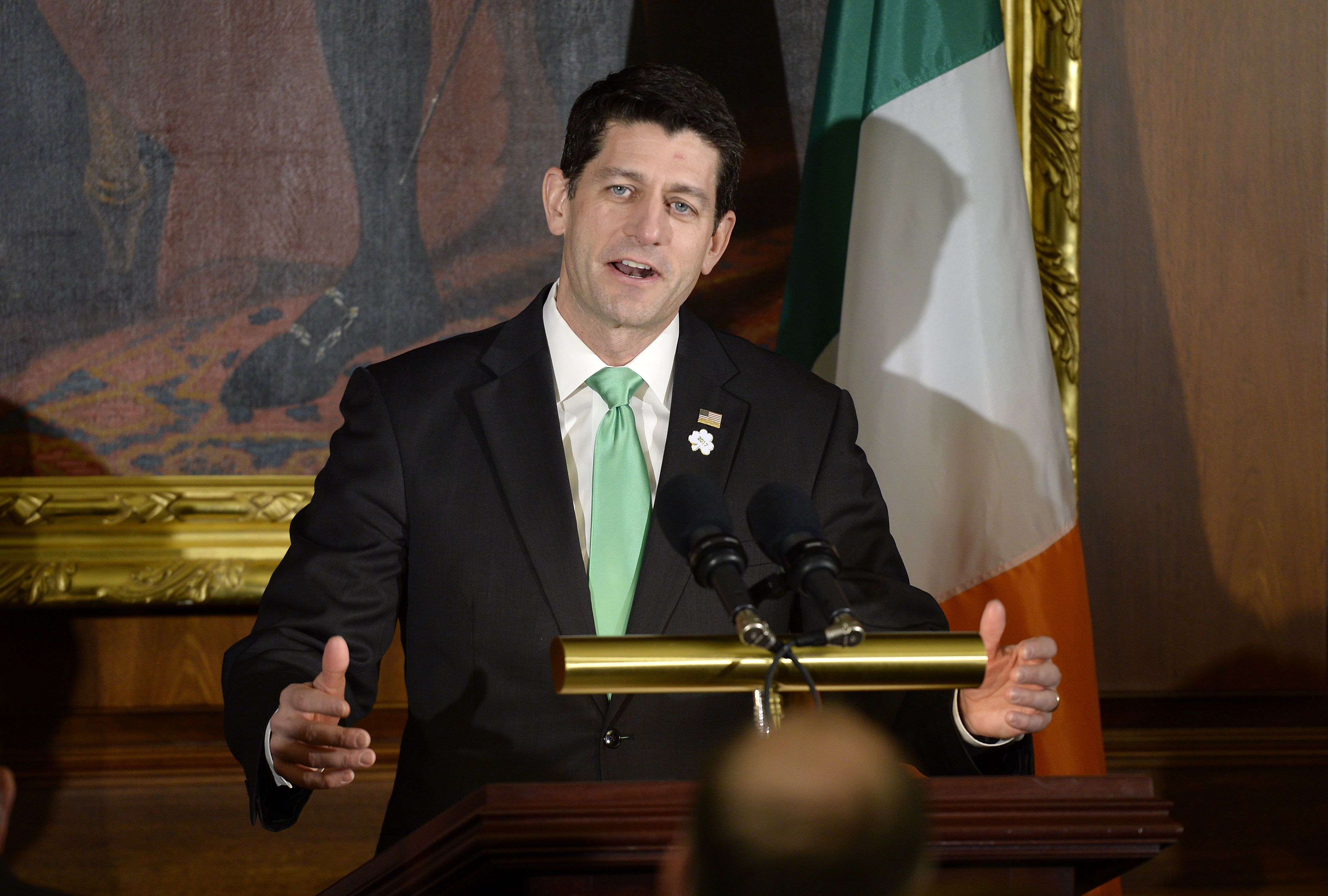 U.S. House Speaker Paul Ryan, a Republican from Wisconsin, speaks during the Friends of Ireland Luncheon at the U.S. Capitol in Washington, D.C., U.S., on Thursday, March 16, 2017. As the Trump administration vows to upend international trade accords, including pulling out of the North American Free Trade Agreement, German Chancellor Angela Merkel's government has redoubled its support for multilateral trade arrangements.Photographer: Olivier Douliery/Pool via Bloomberg